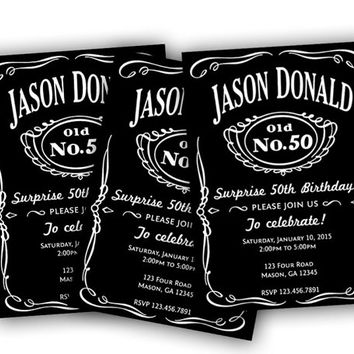 Men Birthday Invitations - Guys Adult Birthday Party - Whiskey Alcohol - Black and White - Over the Hill - 30th - 40th - 50th - 60th - 70th