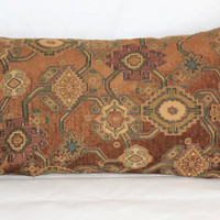 "Caramel Brown Southwest Pillow, Large 14 x 25"" Chenille Tapestry Gold Turquoise Teal Tan Tones, Heavy and Soft Only One, Ready to Ship"