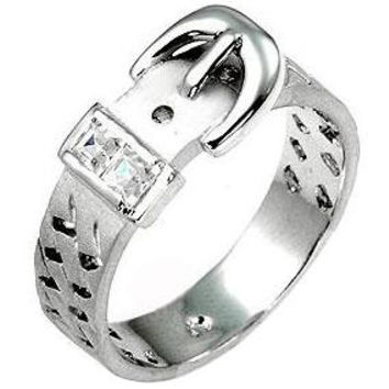 Silvertone Buckle Ring, size : 07