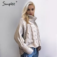 Simplee Turtleneck knitted pullover sweater Women hollow out soft jumper pull femme Autumn winter 2017 warm knitting sweater-in Pullovers from Women's Clothing & Accessories on Aliexpress.com | Alibaba Group