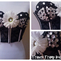 Black and White Daisy Bustier