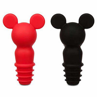 disney parks mickey red and black set of 2 bottle stopper new with card
