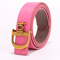 DIOR Fashionable Women Men Letter Smooth Buckle Leather Belt Pink