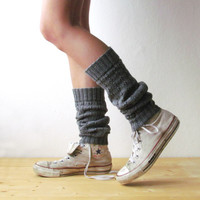 Leg warmers in Grey  / Boot cuff / grey boot socks / Urban clothing / Knit leg warmers / lace boot cuff