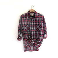 Vintage pink Plaid Flannel / Grunge Shirt / washed out button up shirt