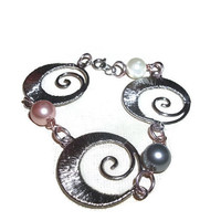 Pretty 8 1/2 Inch Silver Tone Swirl Bracelet with Multi Colored Faux Pearls Free Shipping