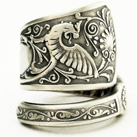 Spoon Ring Vintage Victorian Dragon Sterling Silver Spoon Ring, Handmade in Your Size (2669)