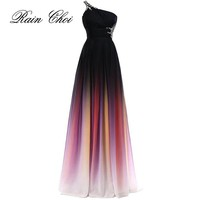 Sexy Chiffon A Line One Shoulder Formal Bridesmaid Dress Wedding party Gown Floor Length Long Bridesmaid dresses 2017