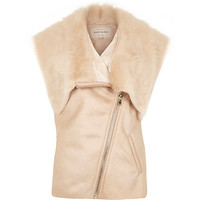 River Island Womens Pink sleeveless leather-look faux fur vest