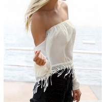 Strapless crop top lace fringe tassel