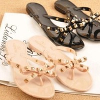 DCCK NEW WOMEN'S SANDALS RIVET BOW SLIPPERS FLAT SANDALS