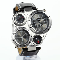 2015 new fashion oulm cool dual time leather strap men high quality military steel army design sport outdoor wrist quartz watch
