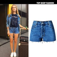 Denim High Waist Slim Plus Size Shorts [6451820484]