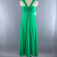 Vintage 1970s Green Grecian Goddess Gown