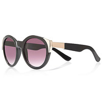 River Island Womens Black gold tip round sunglasses