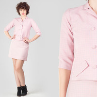 60s Light Pink Matching Set / Double Breasted Crop Jacket & High Waist A Line Mini Skirt / Mod Retro Cute Check Print Small S Outfit