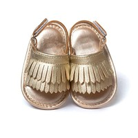 Leather Frill Baby Sandals