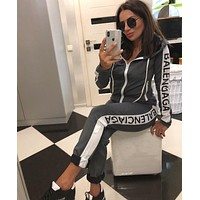 Balenciaga Tide brand women's fashion hooded sports and leisure suit two-piece Gray