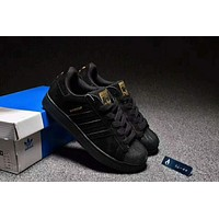 """Adidas"" Superstar Casual Running Sport Shoes Sneakers Black I-CSXY"