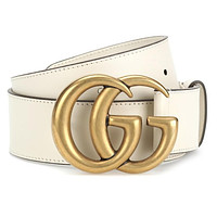 LV Louis vuitton G GG classic solid color men's and women's gold letter buckle White belt