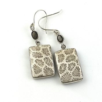 Fossilized Coral & Smoky Quartz Sterling Silver Earrings