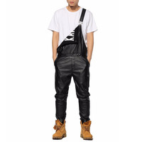 Black Leather Overalls Pants Jogger