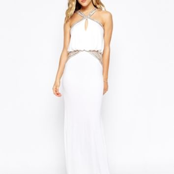 Forever Unique Maxi Dress With Embellished Necklace and Waist
