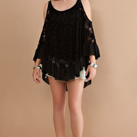 Floral lace ruffle top