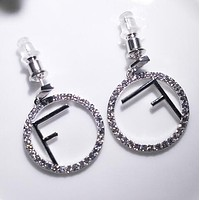 "Hot Sale ""FENDI"" 925 Silvery Stylish Women Simple F Letter Diamond Hollow Earrings Accessories Jewelry I13818-1"