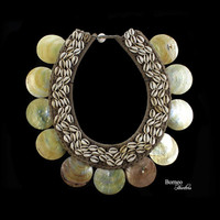 Vintage Papua New Guinea Necklace Tribal Neck Adornment;Mother Of Pearl Shell Disc,Cowries Home Interior Decor Nautical Traditional Ornament