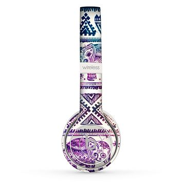 The Tie-Dyed Aztec Elephant Pattern Skin Set for the Beats by Dre Solo 2 Wireless Headphones