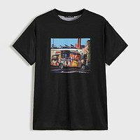 Fashion Casual Men Neon Picture Print Graphic Tee
