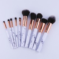 10Pcs/Set Professional Makeup Brushes Marbling Handle Eye Shadow Eyebrow Lip Eye Make Up