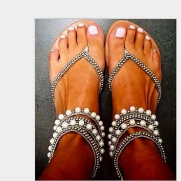 Hot style ankle beaded sandal woman shoes