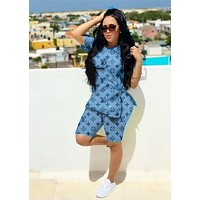 LV Louis Vuitton Fashion Women Casual Print Top Shorts Set Two Piece Sportswear Blue