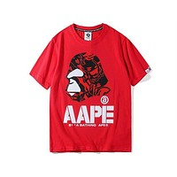 AAPE 2018 summer new hot stamping cartoon print lovers short-sleeved T-shirt F-A-KSFZ Red