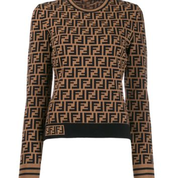FENDI Long-sleeved round-necked thin knitted sweater