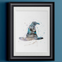 Watercolor Harry Potter | Sorting Hat Home Print | 8.5 x 11 | Wall Decor