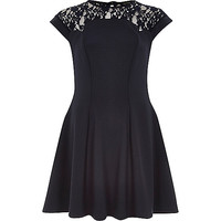 River Island Womens Navy blue lace top skater dress
