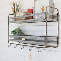 Double Wall Shelf With Coat Hooks