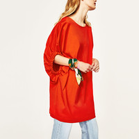 DRESS WITH ELASTIC SLEEVE DETAILS