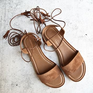 COCONUTS By Matisse - Sting Wraparound Lace Sandal in Saddle