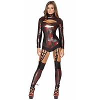 Sexy Black Widow Spider Girl Romper Halloween Costume