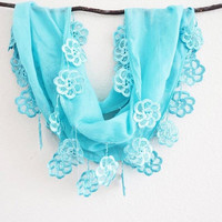 Robin Egg Blue Floral Lace Scarf Silver Lace Embellishment, Beach, Ocean Blue Trendy Scarf