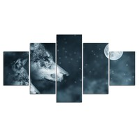 5 panel Wolf and night moon sky wall art canvas panel print Framed UNframed