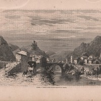 Antique Engraving of Pontaix,France View of the City 1860