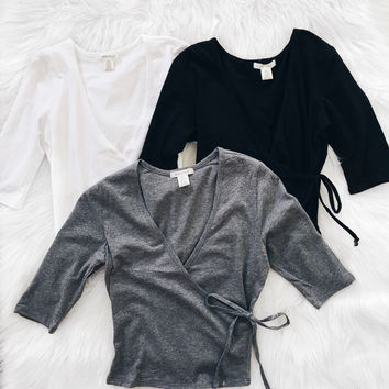 Wrapped Crop Top (White, Black, Gray)