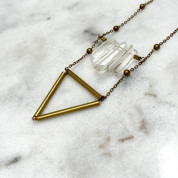 QUARTZ NECKLACE | brass bar, triangle necklace, geometric, brass tubes, statement piece, for her, quartz cluster necklace