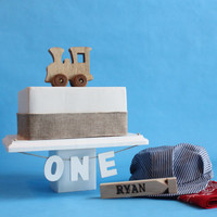 Old-fashioned Wood Toy Engine Train Cake Topper, Vintage Look, Smash The Cake, Photo Prop, Over The Top Cake Topper