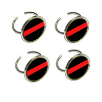 Thin Red Line Napkin Ring Set
